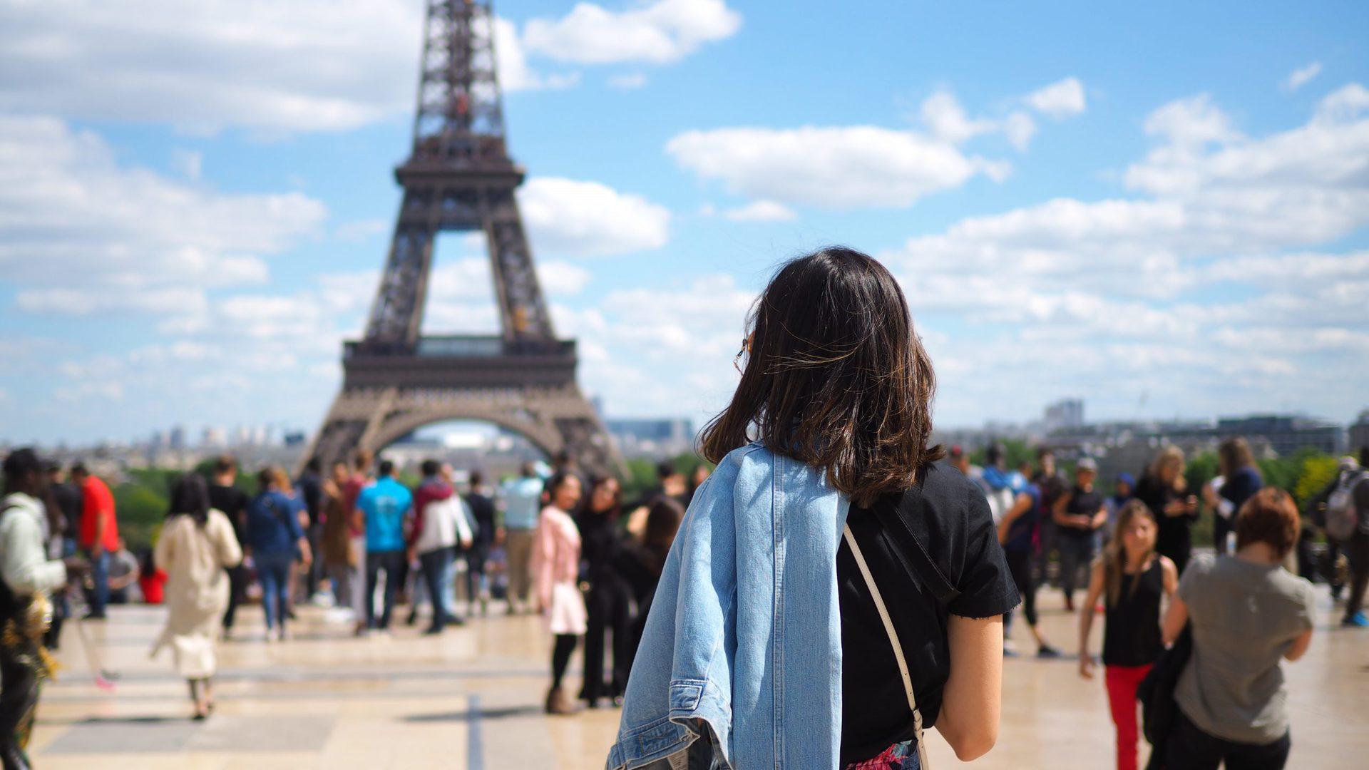 Crowds Near The Eiffel Tower